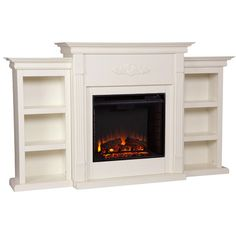 Ivory Electric Fireplace Bookcase On Either Side With Remote Control Home Decor in Fireplaces Fireplace Bookcase, Fireplace Wall, Fireplace Ideas, Fireplace Update, Propane Fireplace, Fake Fireplace, Fireplace Surrounds, Fireplace Design, Traditional Fireplace