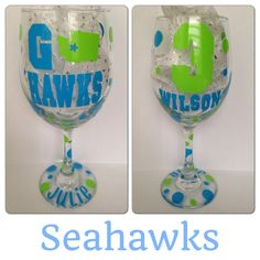 Seattle Seahawks Wine Glass.. can be by CreateBeautywithLove, $20.00