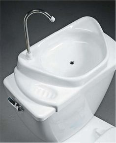 As a retrofitted sink basin, SinkPositive replaces a toilet tank's lid to enable a touchless hand wash with clean, supply line water before redirecting the used (grey) water to the toilet bowl for the next flush. This would be great for a camper! Toilet Sink, Toilet Bowl, Flush Toilet, Tiny Bathrooms, Small Bathroom, Small Space Living, Tiny Living, Glamping, Tiny House Blog