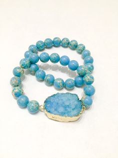 Emperor Turquoise and Blue Druzy Stretch Bracelet Set