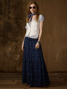 """deliberately crinkled cotton"" Tiered Floral Maxi Skirt"