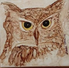 This is one of my first alcohol ink owl tiles. It was painted on a 4 x 4 ceramic tile using alcohol inks. The finished painted tile was mounted to a slightly larger stained popular wood plaque. This item has a saw-tooth hanger on the reverse side.  All proceeds from this sale go towards my daughters piano! If you like what you see here, please consider making us a favorite shop. We are just getting started on Etsy, and we have many pieces to list. Most of our works are whimsical. Also…