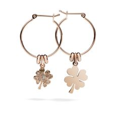 Dodo rose gold earrings. If you're lucky you may find two four leaf clovers, one in rose gold and one in brown diamonds.