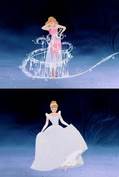 Day 26: Most Magical Moment: When Cinderella's fairy Godmother changes her dress, horse, carriage, and shoes.