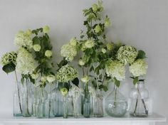 Love these mix-matched bottles with hydrangea blooms from Elle Decoration UK #floral #hydrangea #decorstylist #stylist