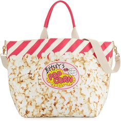 Betsey Johnson Amuse Me Popcorn Tote Bag (2,245 DOP) ❤ liked on Polyvore featuring bags, handbags, tote bags, cream mult, zip purse, zip tote bag, tote purses, tote bag purse and white purse