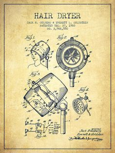 Hair Dryer Poster featuring the drawing Hair Dryer Patent From 1960 - Vintage by Aged Pixel