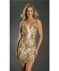 Roxanni Brie Dress in White With Gold  By Holt Find More : http://www.imaddictedtoyou.com/