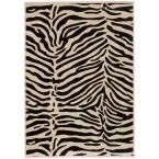 Frost Black, Cream 5 ft. 3 in. x 7 ft. 3 in. Area Rug, Black/Ivory