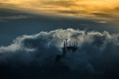 The Cathedral up in the Clouds by Vagelis Poulis on One Light, Athens, Cathedral, Clouds, Night, City, Outdoor, Outdoors, Cathedrals