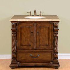 """Silkroad 36"""" Transitional Single Sink Bathroom Vanity"""