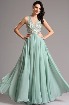 A Line Plunging Illusion Neck Green Evening Dress Formal Gown (00160504) - USD 229.99