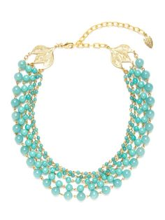 Gold & Dyed Jade Multi Row Necklace by David Aubrey at Gilt