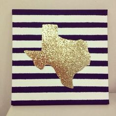 Cut out your state on glitter paper and add to a patterned canvas. YES