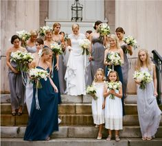 Various Amsale Bridemaid dresses  - Louise & Billy: A Bryan Photo | Buffy Hargett Flowers #bellabridesmaids