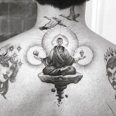 Amazing buddhist monk meditation tattoo by Buddha Tattoo Design, Buddha Tattoos, Buddhist Symbol Tattoos, Hindu Tattoos, Top Tattoos, Back Tattoos, Body Art Tattoos, Tattoos For Guys, Kunst Tattoos