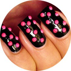 Video Tutorial: Hot Pink Studded Nails - I think this would be cute on just tips too..what do you guys think?  Leave comments below.