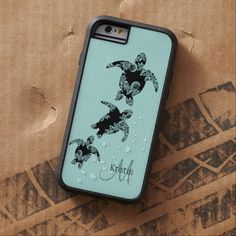 Sea Turtle Aqua Stripe with Monogram Tough Xtreme iPhone 6 Case