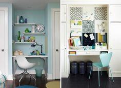 Para quem trabalha de casa, aqui vão algumas ideias para um home office pequeno e charmoso ♥