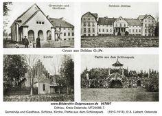 Döhlau, Gemeinde-und Gasthaus, Schloss, Kirche, Partie aus dem Schlosspark