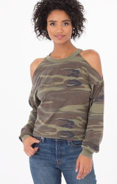 6c4cb05e00c1c Z supply the camo cold shoulder pullover t shirt