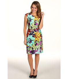 Ellen Tracy V-Back Floral Sheath Dress w/ Belt