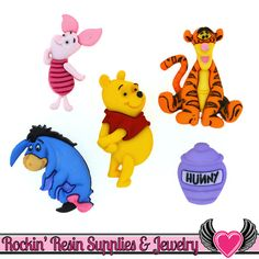 Winnie The Pooh - Disney Buttons ~ Dress It Up Embellishment Buttons ~ Jesse James Novelty Buttons Theme Pack Eeyore, Tigger, Disney Buttons, Hair Bow Supplies, Jesse James, Disney Winnie The Pooh, Sewing A Button, Amazon Art, Baby Sweaters