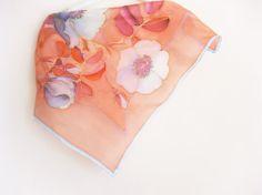 Peach silk scarf Summer scarves Hand painted Pastel by DEsilk, $25.00