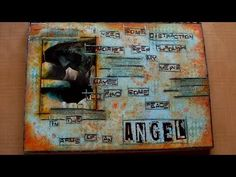 Mixed Media Art Journal Page - In The Arms Of An Angel by Rachel using Prima's new Color Bloom sprays, Elemental stamps and stencils! #mixedmedia #new #artjournal #colorbloomsprays