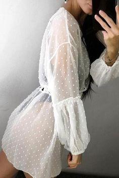 Dot See Though Drawstring Cover Up | girlyrose.com