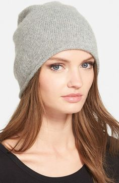 $44, Halogen Metallic Cashmere Blend Beanie. Sold by Nordstrom. Click for more info: https://lookastic.com/women/shop_items/343372/redirect