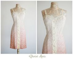 1950's Blush Ombre Party Dress - Vintage Ombre Lace Dress - Pink and Cream Lace Cocktail Dress - Size Large