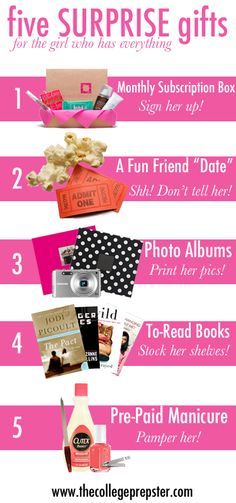 Five SURPRISE gifts for the girl who has everything