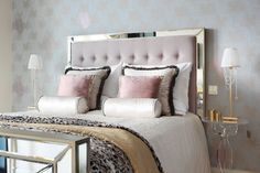 contemporary-bedroom metallic pink how to decorate feminine girly adult princess theme bedroom metallic bedding bed headboard tufted gold shop room ideas bedroom leaf print wallpaper