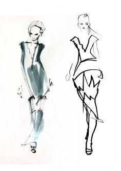 Joshua Osborn Illustrates London Fashion Week SS14 - Yulia Kon