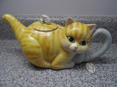 Khien Teapot Yellow Striped Cat with Mouse on Back New with Tag Hand Made | eBay