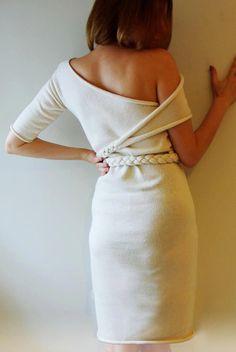 Little White Dress unique design 100% merino wool (midi) One of a kind
