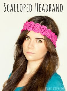 Crochet Scalloped Headband Pattern by hopefulhoney.com @Make and Takes.com