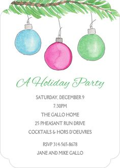 Trim the Tree Invitation Pheasant Run, Holiday Party Invitations, Throw A Party, Holiday Parties, Party Planning, Rsvp, Seasons, Seasons Of The Year, Parties