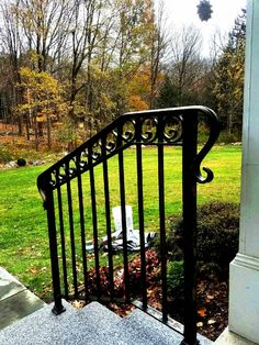 3-Rail Wrought Iron Railing with Decorative Fishtail Rings