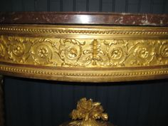 Grande Table Console En Demi-lune, XVIIIe Siècle. Typical Louis XVI volute ornamentation.