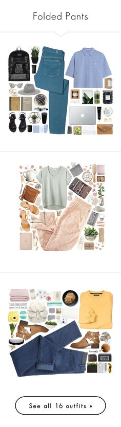 """Folded Pants"" by vera-ush ❤ liked on Polyvore featuring Lux-Art Silks, 7 For All Mankind, T By Alexander Wang, JanSport, Bobbi Brown Cosmetics, Le Labo, H&M, NARS Cosmetics, Frette and Johnstons"