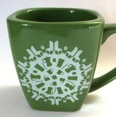 Starbucks Snowflake Mug Coffee Cup Green White Collectible Large Square 2004 #Starbucks #CoffeeMugBeverageCup