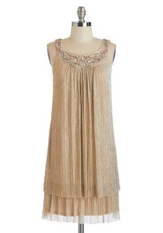 Brilliant Beyond Compare Dress. Shine more brightly than ever before by swathing yourself in this shimmery champagne shift. #gold #modcloth