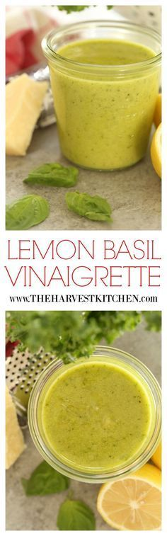 This simple Lemon Basil Vinaigrette uses fresh tender basil leaves garlic parmesan cheese a wee bit of Dijon mustard lemon juice and extra-virgin olive oil. Its quick and easy fresh and delicious and its perfect on your favorite salad fix-ins. New Recipes, Soup Recipes, Cooking Recipes, Recipes Dinner, Simple Recipes, Health Recipes, Recipes With Basil, Recipies, Simple Meals