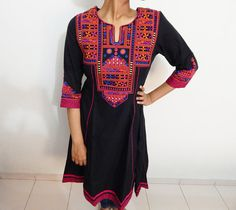 Black embroidered kurti Indian kurti cotton by Indianparadise