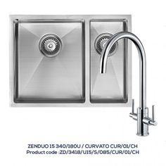 ZENDUO 15 340/180U 1.5 Bowl Sink with CURVATO Chrome Tap