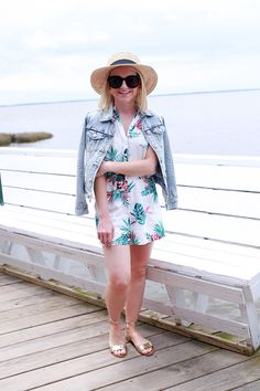 Got Flavor Like Ice Cream, 'Cause I'm That Chick You Like. Printed romper+sandals+denim jacket+hat. Spring Outfit 2016