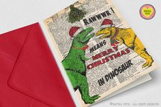 T-rex couple under the mistletoe Christmas Greeting by naturapicta