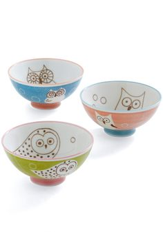 Swoop or Salad Bowl Set - Multi, Dorm Decor, Owls